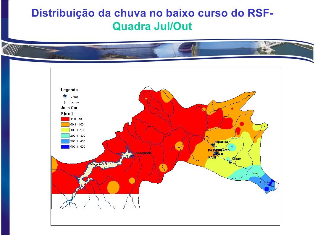Distribuição da chuva no baixo curso do RSF- Quadra Jul/Out