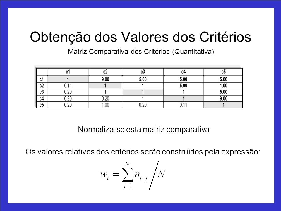 Obtenção dos Valores dos Critérios