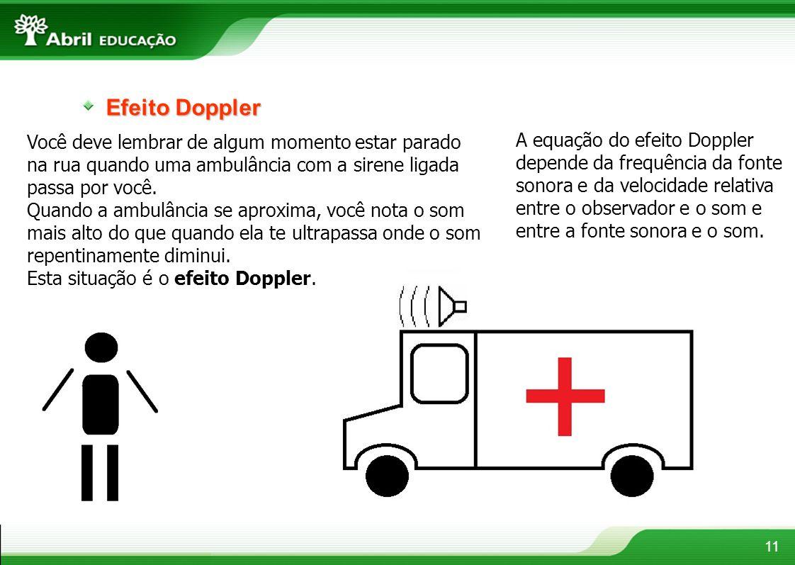 Efeito Doppler Você deve lembrar de algum momento estar parado na rua quando uma ambulância com a sirene ligada passa por você.