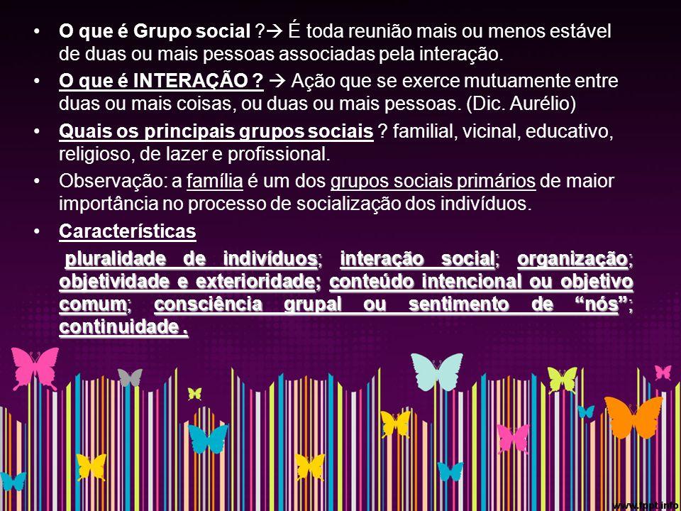 O que é Grupo social  É toda reunião mais ou menos estável de duas ou mais pessoas associadas pela interação.