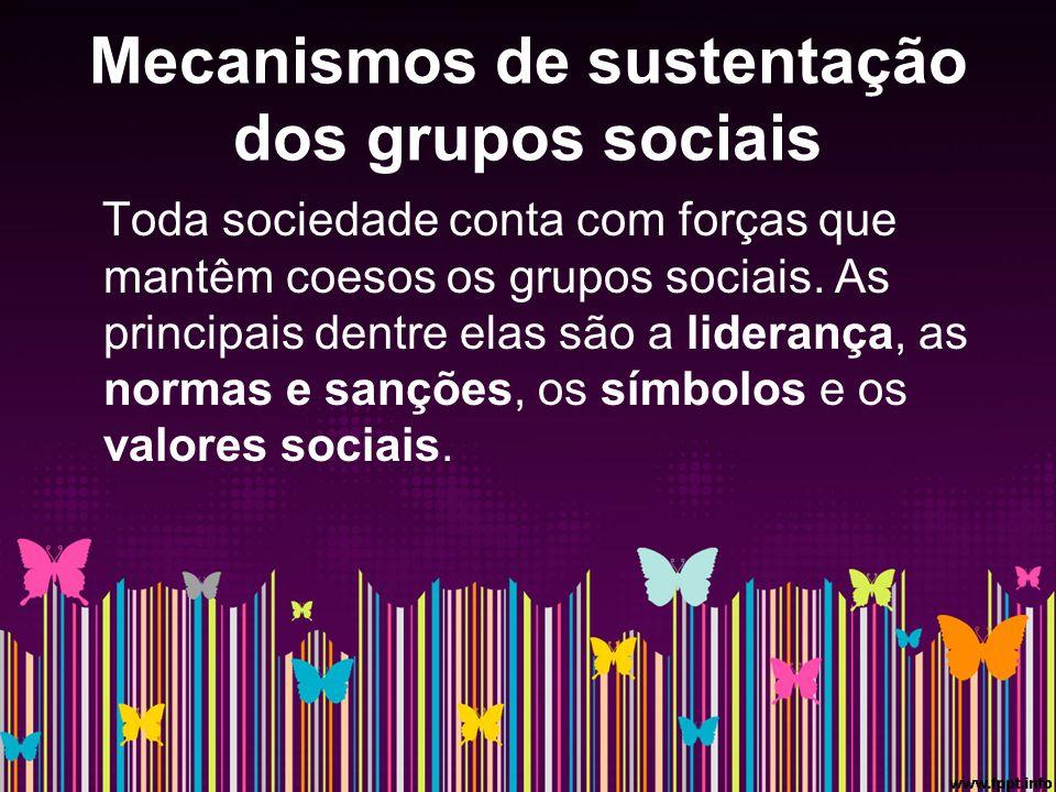 Mecanismos de sustentação dos grupos sociais