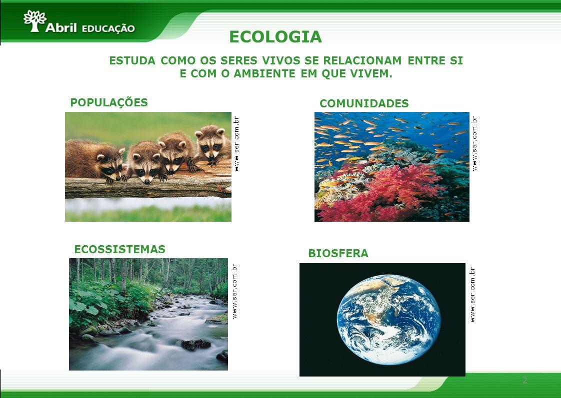 ECOLOGIA ESTUDA COMO OS SERES VIVOS SE RELACIONAM ENTRE SI E COM O AMBIENTE EM QUE VIVEM. POPULAÇÕES.