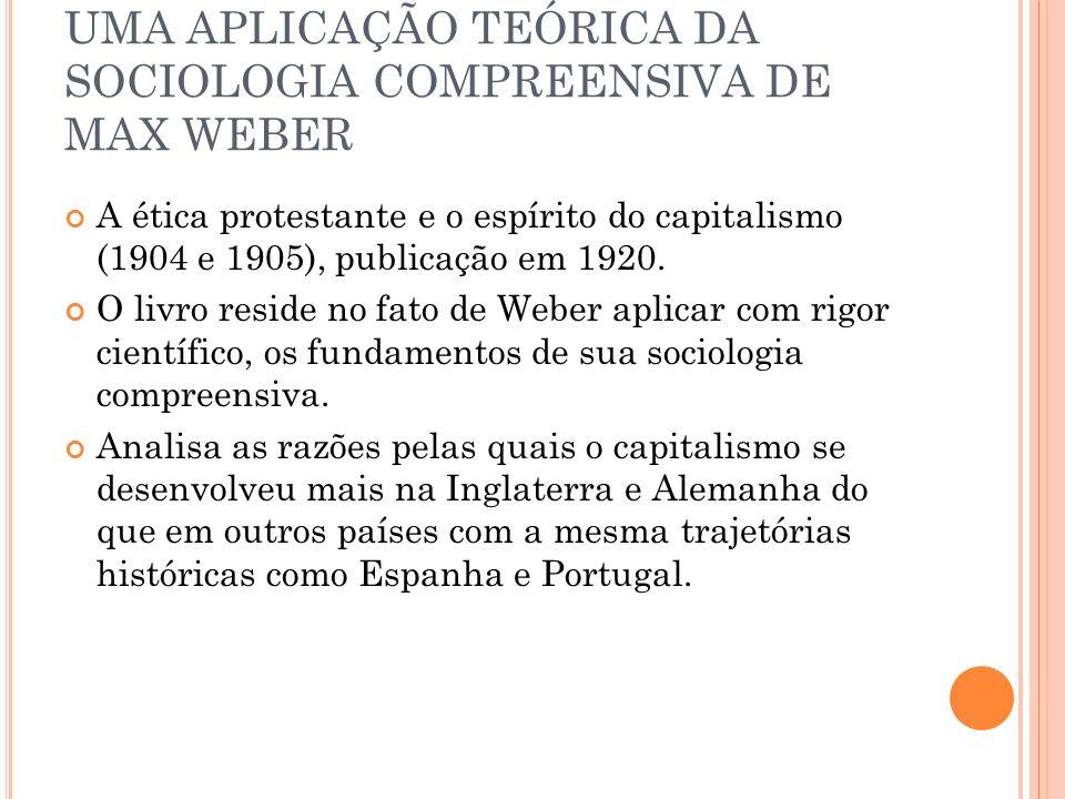 UMA APLICAÇÃO TEÓRICA DA SOCIOLOGIA COMPREENSIVA DE MAX WEBER