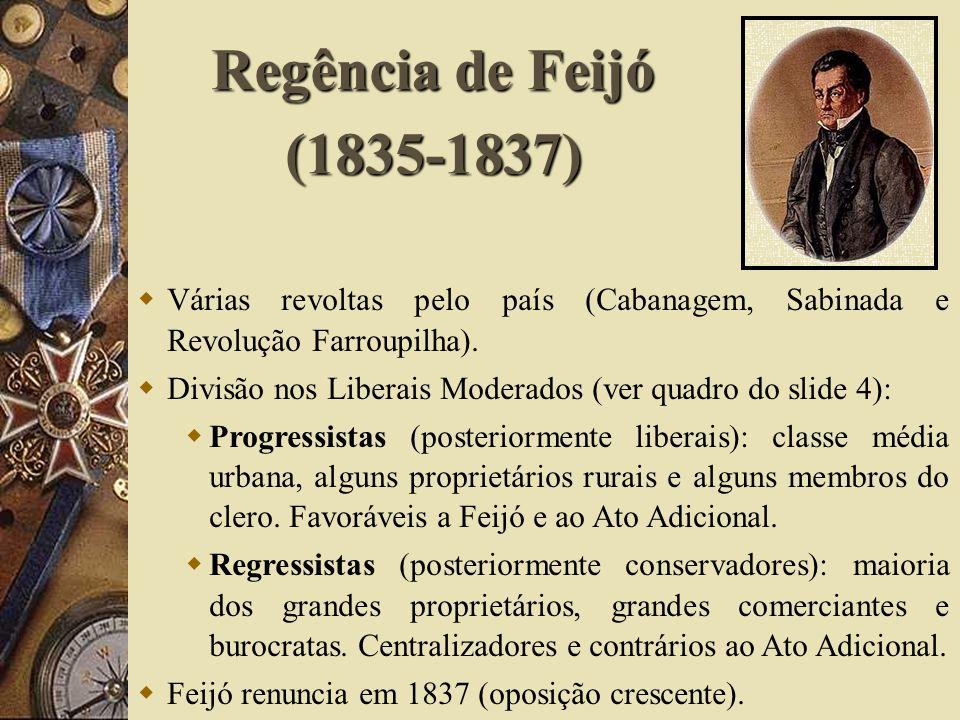 Regência de Feijó (1835-1837) Várias revoltas pelo país (Cabanagem, Sabinada e Revolução Farroupilha).