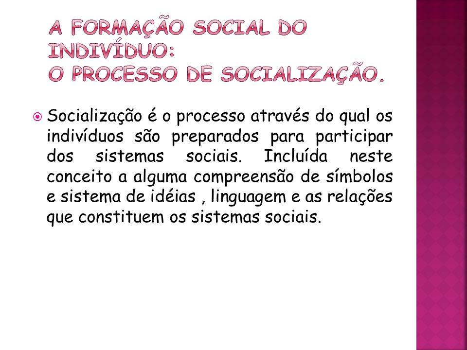 A formação social do indivíduo: O processo de socialização.