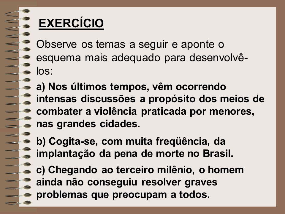 EXERCÍCIO Observe os temas a seguir e aponte o esquema mais adequado para desenvolvê-los: