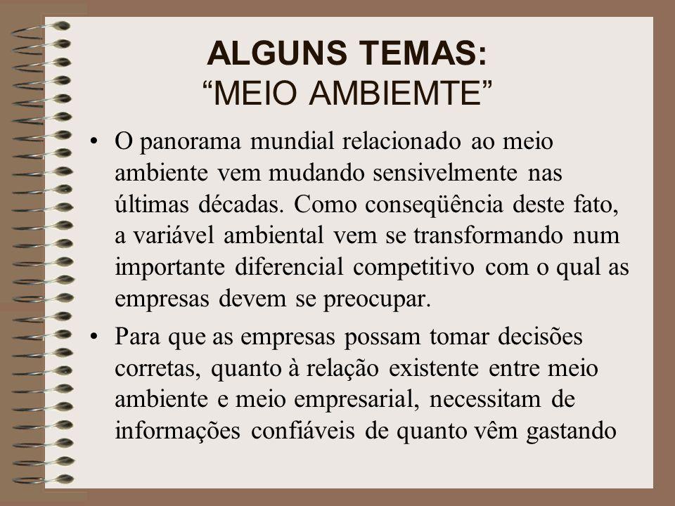 ALGUNS TEMAS: MEIO AMBIEMTE