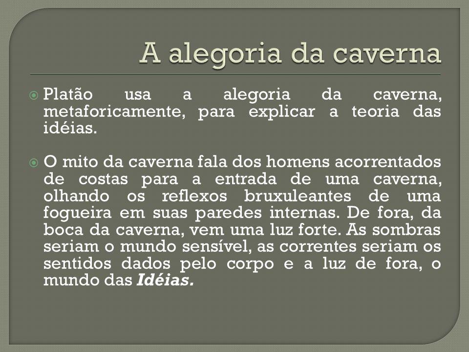 A alegoria da cavernaPlatão usa a alegoria da caverna, metaforicamente, para explicar a teoria das idéias.