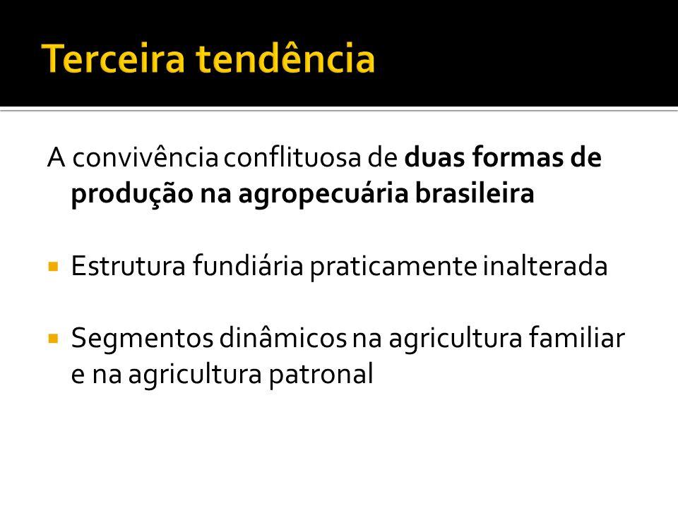 Terceira tendência A convivência conflituosa de duas formas de produção na agropecuária brasileira.