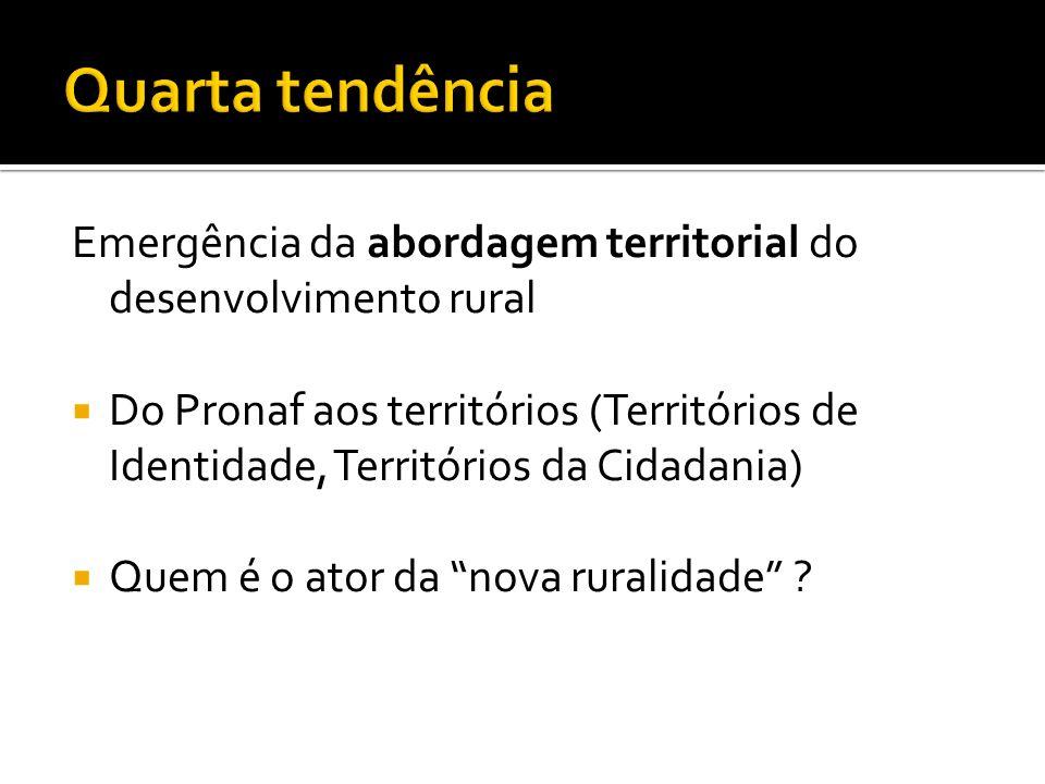 Quarta tendência Emergência da abordagem territorial do desenvolvimento rural.