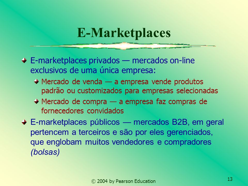E-Marketplaces E-marketplaces privados — mercados on-line exclusivos de uma única empresa: