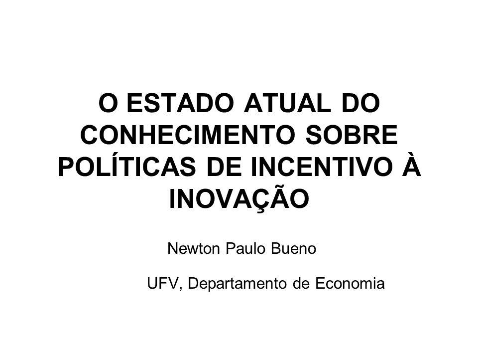 O ESTADO ATUAL DO CONHECIMENTO SOBRE POLÍTICAS DE INCENTIVO À INOVAÇÃO