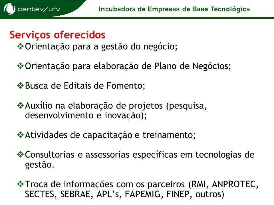 Serviços oferecidos Orientação para a gestão do negócio;