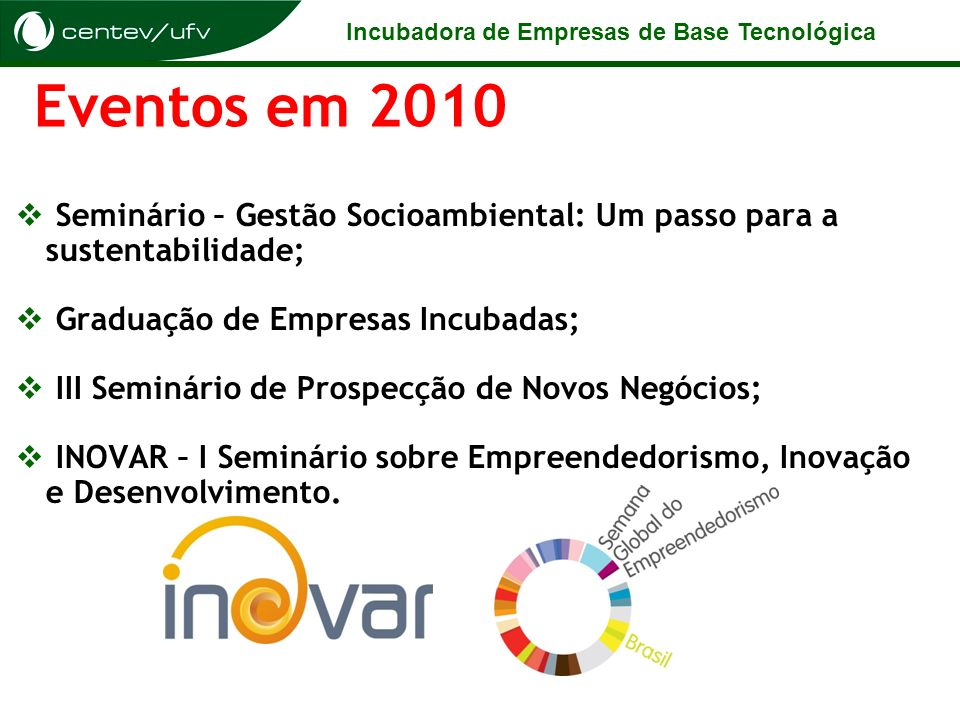 Eventos em 2010Seminário – Gestão Socioambiental: Um passo para a sustentabilidade; Graduação de Empresas Incubadas;