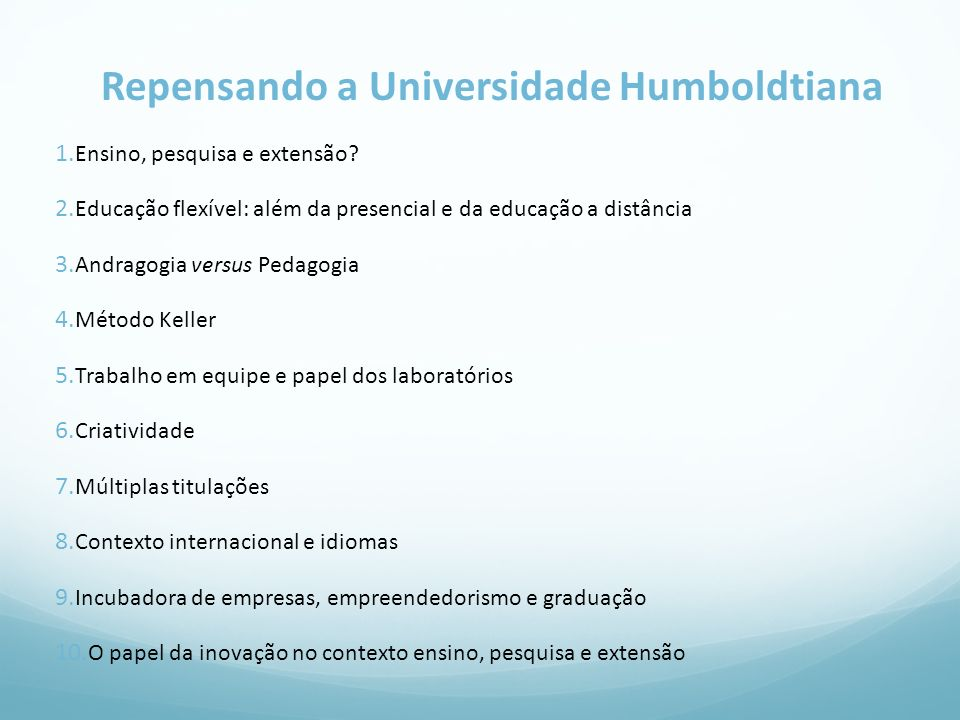 Repensando a Universidade Humboldtiana