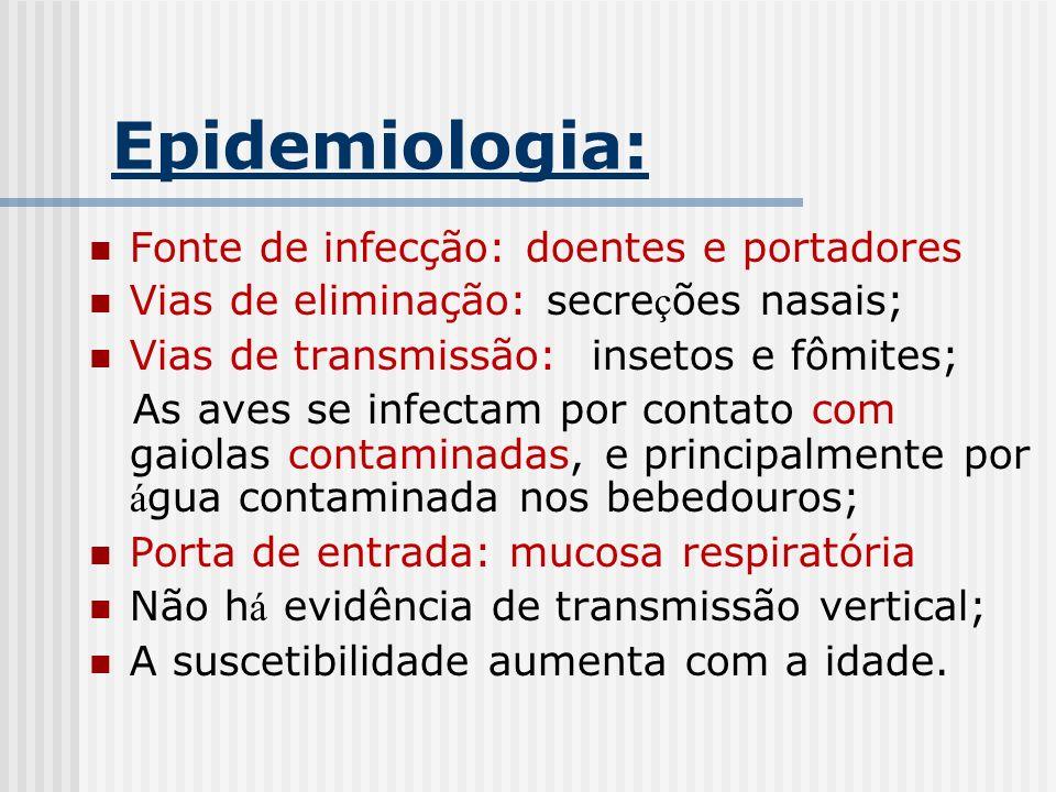 Epidemiologia: Fonte de infecção: doentes e portadores