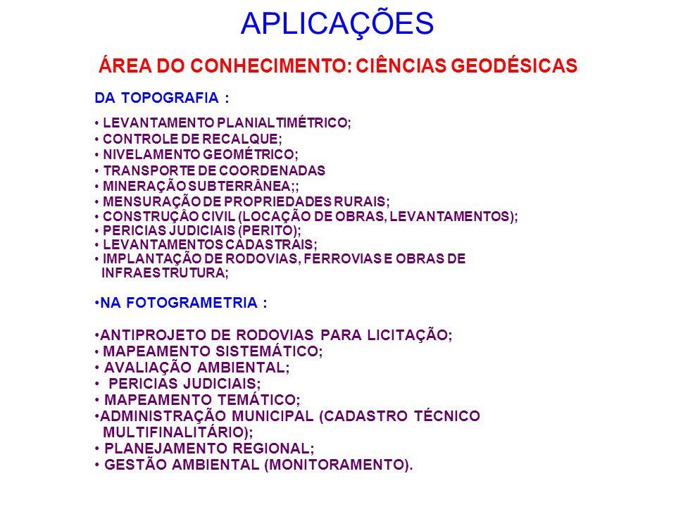 ÁREA DO CONHECIMENTO: CIÊNCIAS GEODÉSICAS