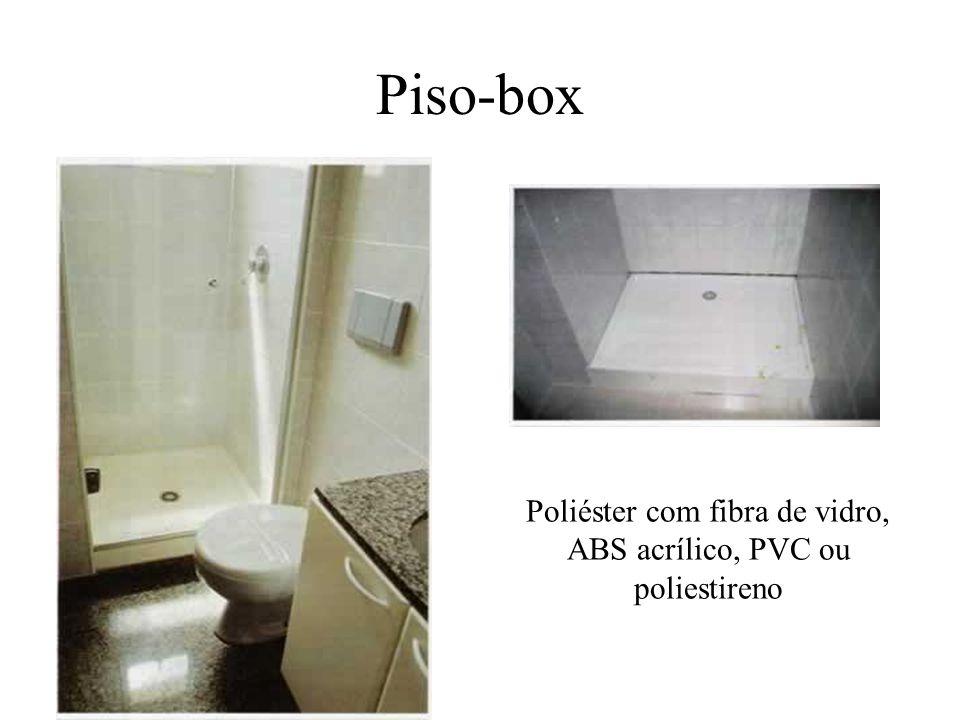 Poliéster com fibra de vidro, ABS acrílico, PVC ou poliestireno