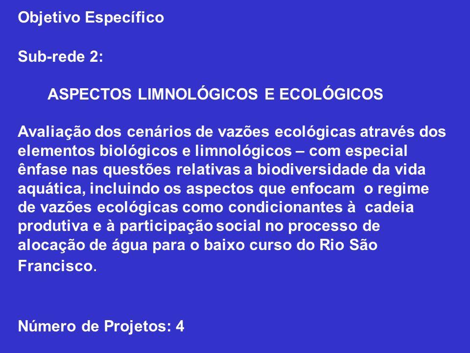 Objetivo Específico Sub-rede 2: ASPECTOS LIMNOLÓGICOS E ECOLÓGICOS.