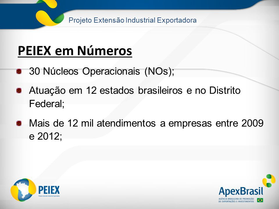 PEIEX em Números 30 Núcleos Operacionais (NOs);