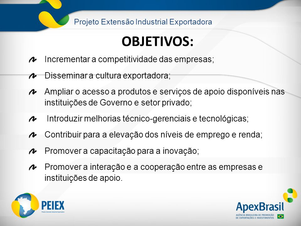 OBJETIVOS: Incrementar a competitividade das empresas;