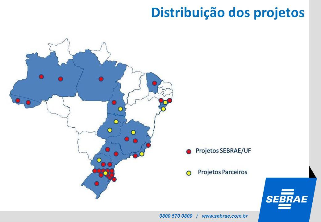 Distribuição dos projetos
