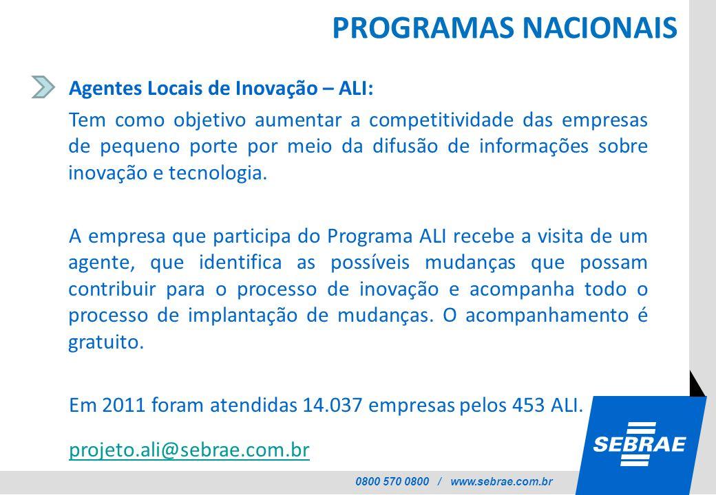 PROGRAMAS NACIONAIS Agentes Locais de Inovação – ALI: