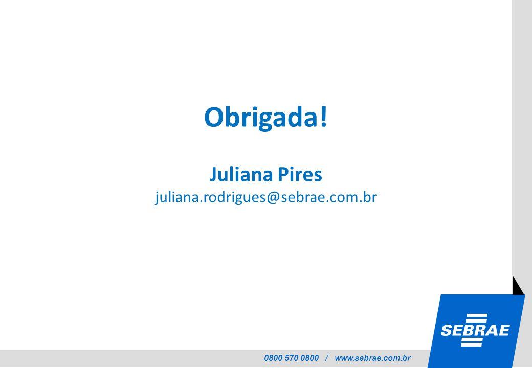 Obrigada! Juliana Pires juliana.rodrigues@sebrae.com.br