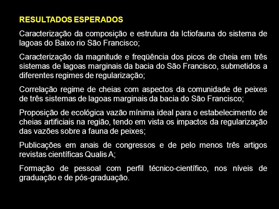 RESULTADOS ESPERADOS Caracterização da composição e estrutura da Ictiofauna do sistema de lagoas do Baixo rio São Francisco;