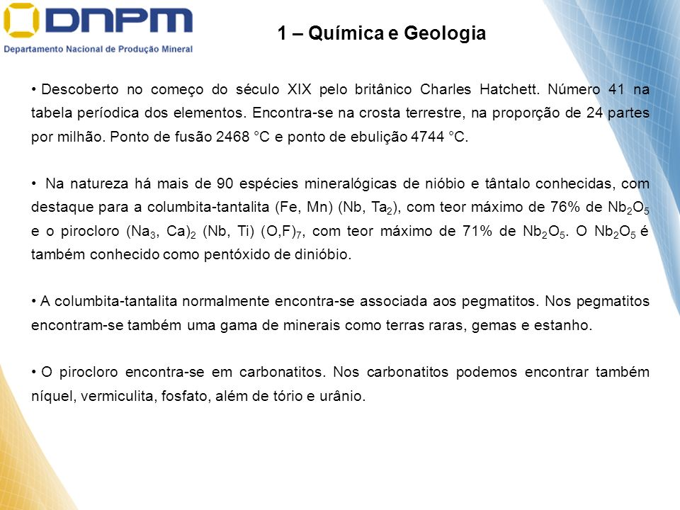 1 – Química e Geologia
