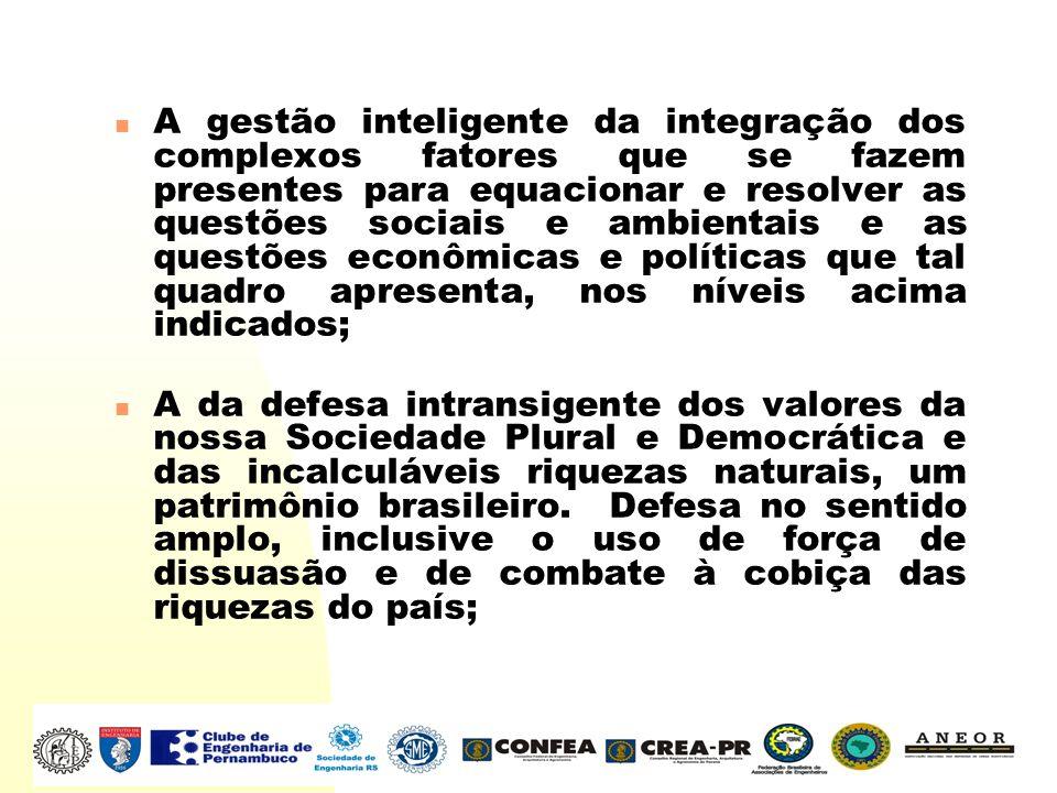 A gestão inteligente da integração dos complexos fatores que se fazem presentes para equacionar e resolver as questões sociais e ambientais e as questões econômicas e políticas que tal quadro apresenta, nos níveis acima indicados;