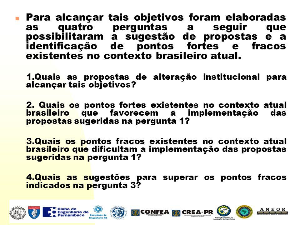 Para alcançar tais objetivos foram elaboradas as quatro perguntas a seguir que possibilitaram a sugestão de propostas e a identificação de pontos fortes e fracos existentes no contexto brasileiro atual.