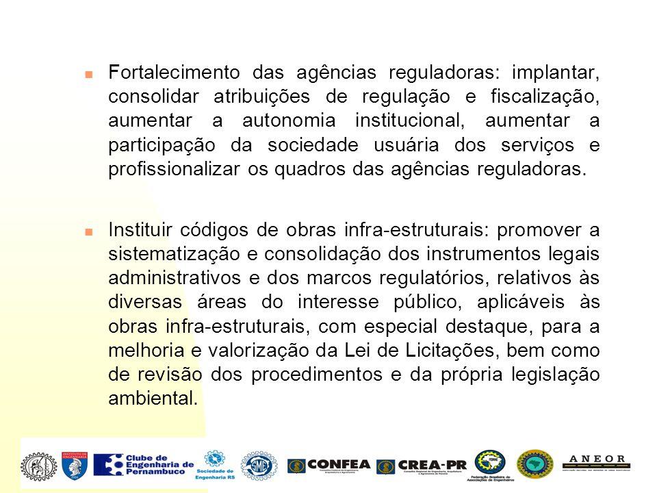 Fortalecimento das agências reguladoras: implantar, consolidar atribuições de regulação e fiscalização, aumentar a autonomia institucional, aumentar a participação da sociedade usuária dos serviços e profissionalizar os quadros das agências reguladoras.