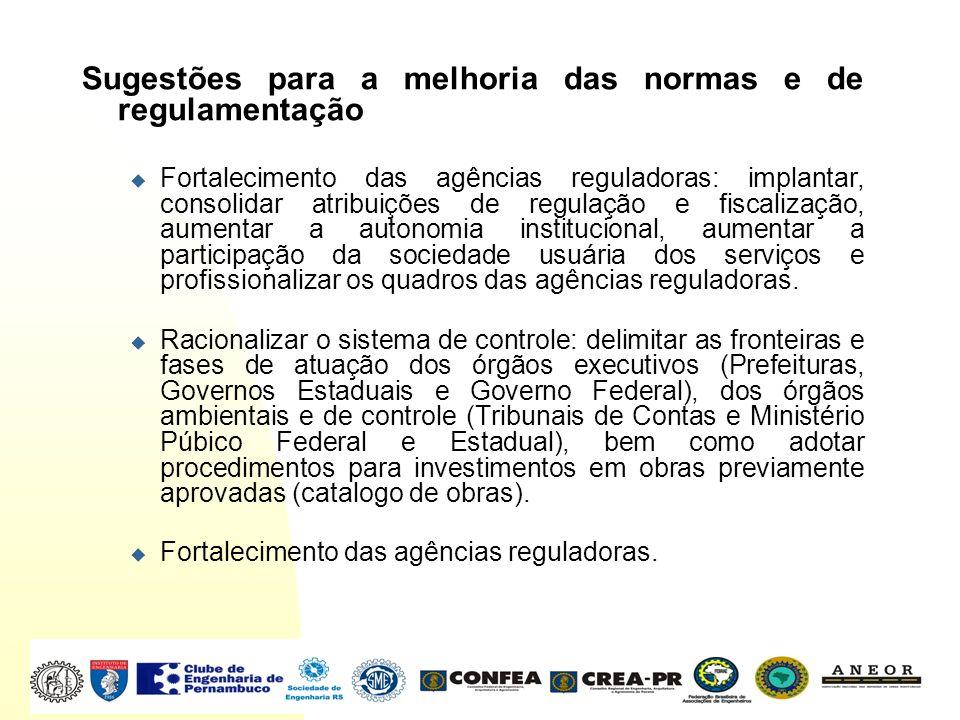 Sugestões para a melhoria das normas e de regulamentação