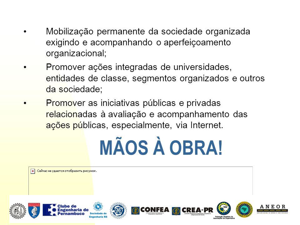 Mobilização permanente da sociedade organizada exigindo e acompanhando o aperfeiçoamento organizacional;