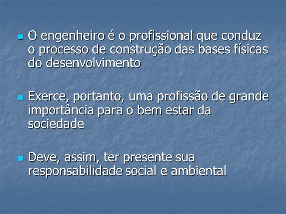 O engenheiro é o profissional que conduz o processo de construção das bases físicas do desenvolvimento