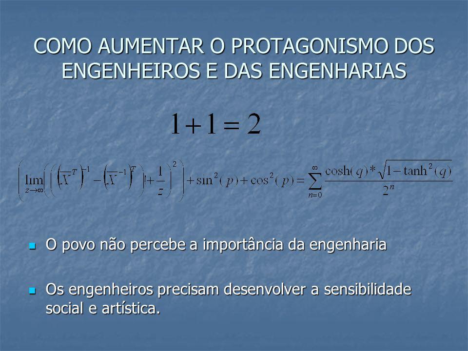 COMO AUMENTAR O PROTAGONISMO DOS ENGENHEIROS E DAS ENGENHARIAS