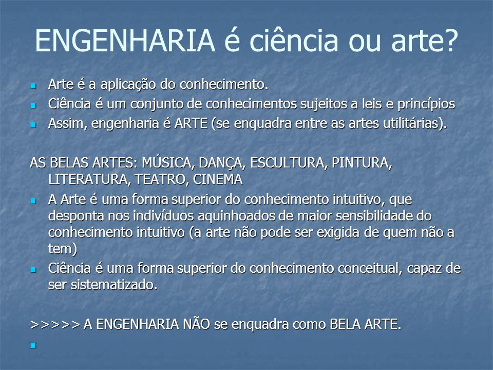 ENGENHARIA é ciência ou arte