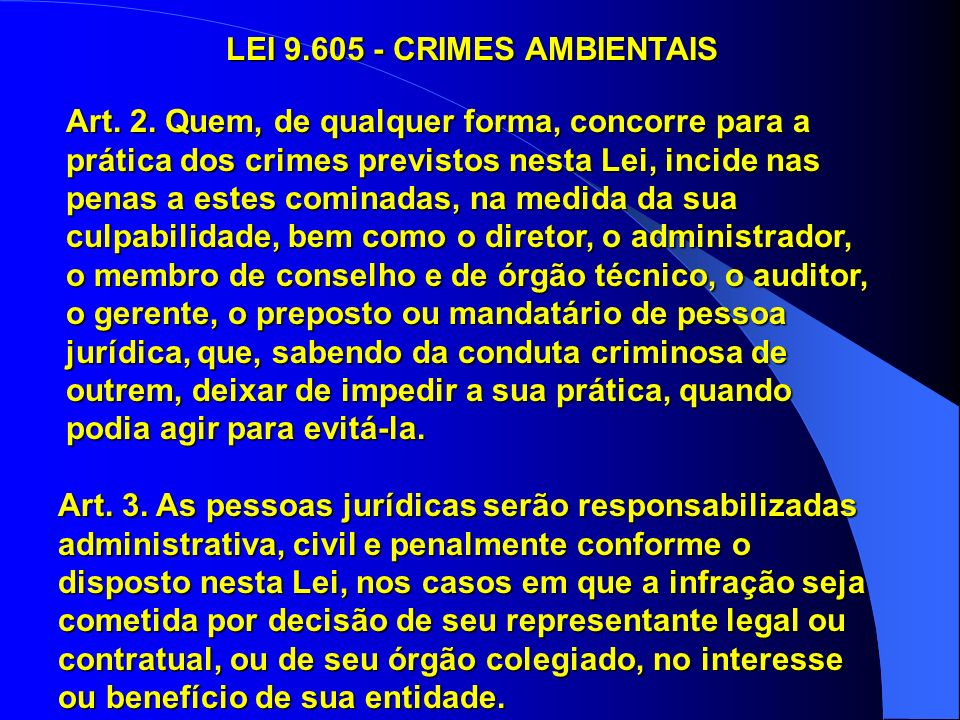 LEI 9.605 - CRIMES AMBIENTAIS