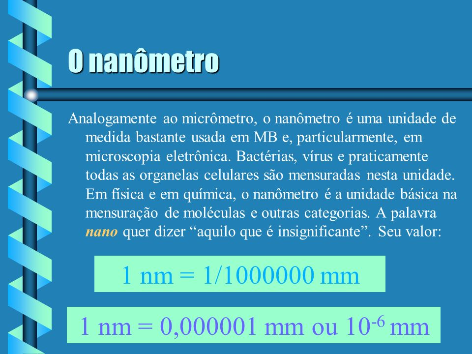 O nanômetro 1 nm = 1/1000000 mm 1 nm = 0,000001 mm ou 10-6 mm