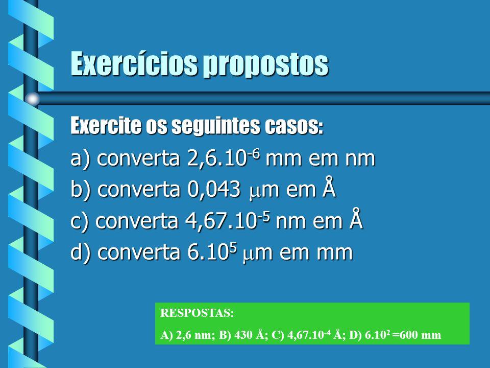 Exercícios propostos Exercite os seguintes casos: