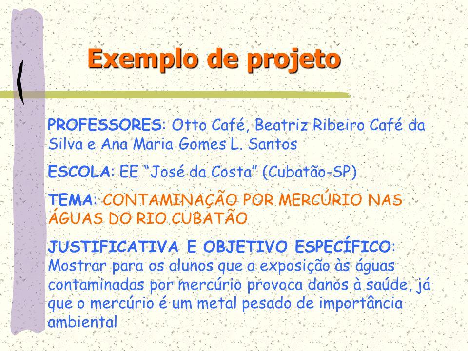 Exemplo de projetoPROFESSORES: Otto Café, Beatriz Ribeiro Café da Silva e Ana Maria Gomes L. Santos.