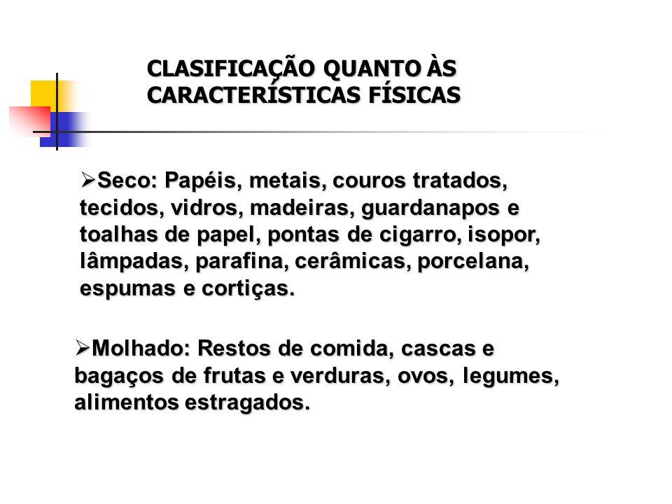 CLASIFICAÇÃO QUANTO ÀS CARACTERÍSTICAS FÍSICAS