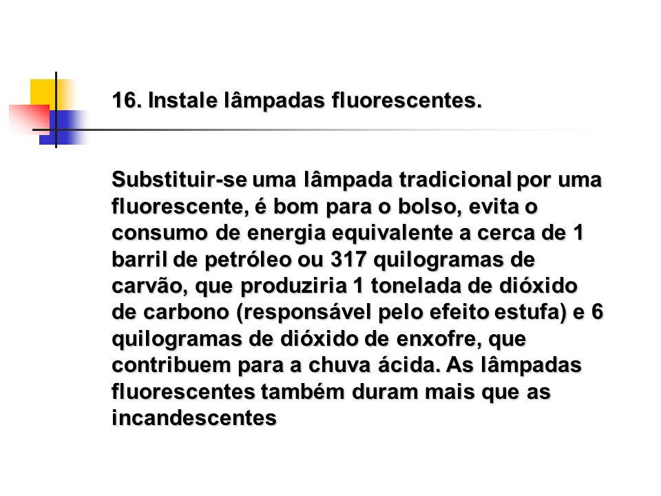 16. Instale lâmpadas fluorescentes.