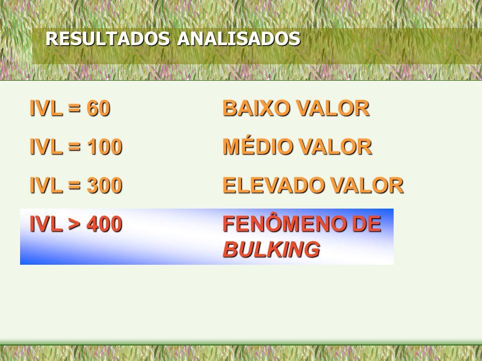 IVL = 60 BAIXO VALOR IVL = 100 MÉDIO VALOR IVL = 300 ELEVADO VALOR