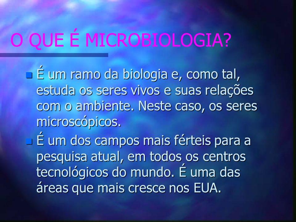 O QUE É MICROBIOLOGIA É um ramo da biologia e, como tal, estuda os seres vivos e suas relações com o ambiente. Neste caso, os seres microscópicos.