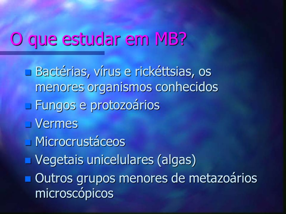 O que estudar em MB Bactérias, vírus e rickéttsias, os menores organismos conhecidos. Fungos e protozoários.