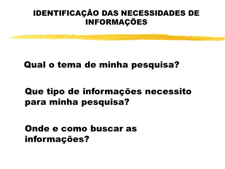 IDENTIFICAÇÃO DAS NECESSIDADES DE INFORMAÇÕES