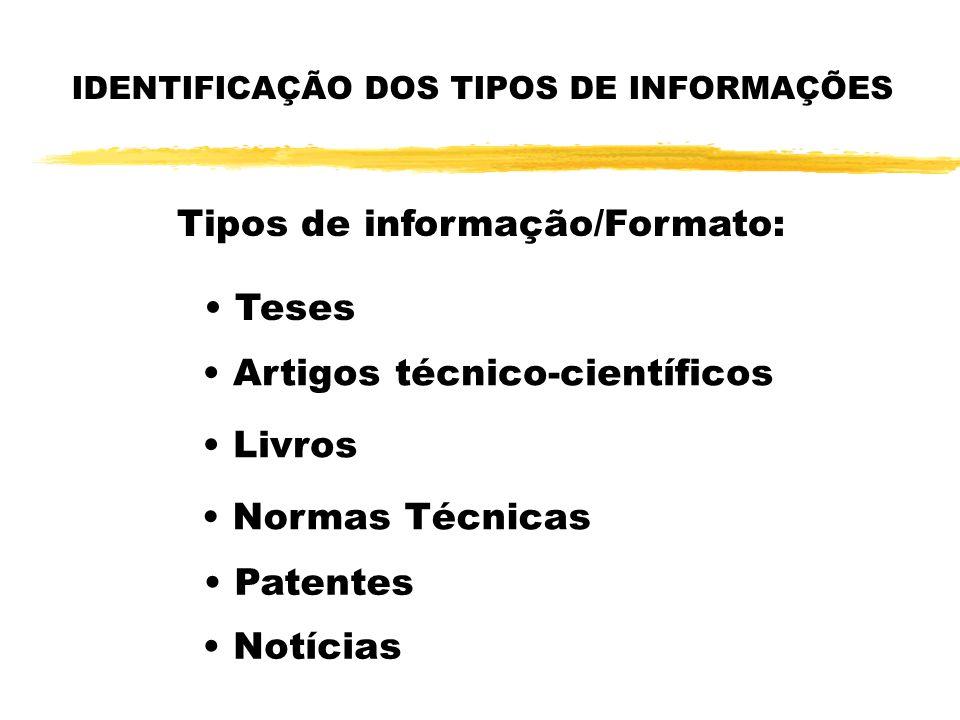 IDENTIFICAÇÃO DOS TIPOS DE INFORMAÇÕES