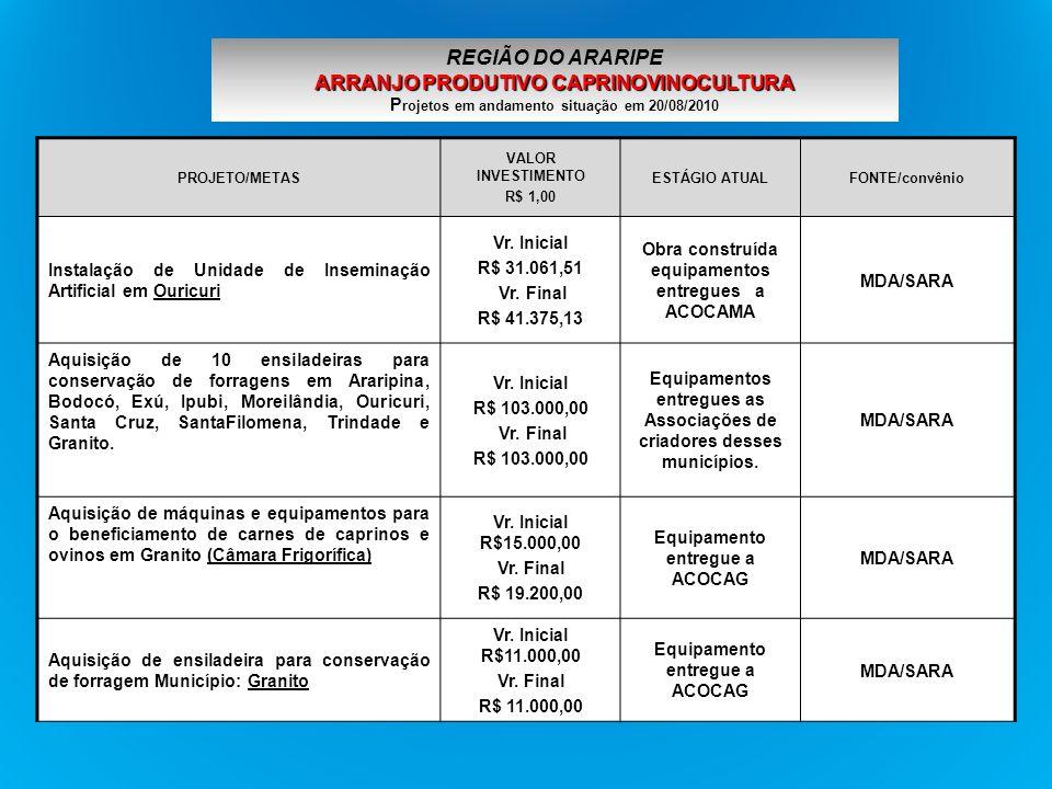 REGIÃO DO ARARIPE ARRANJO PRODUTIVO CAPRINOVINOCULTURA Projetos em andamento situação em 20/08/2010
